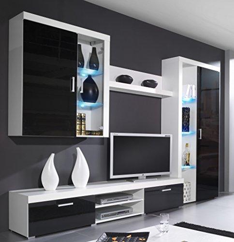 wohnwand samba mit led beleuchtung wohnzimmer m bel wei schwarz hochglanz m bel24. Black Bedroom Furniture Sets. Home Design Ideas