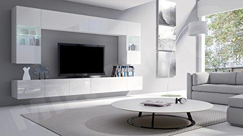 Moderne Wohnwand Calabrini I, Anbauwand, Mediawand, Hängevitrine, TV Lowboard, Wandregal, Wohnzimmerschrank, Fernsehschrank (mit weißer LED Beleuchtung, Weiß / Weiß Hochglanz)