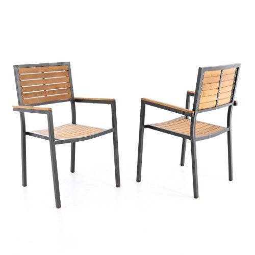 2er Set Gartenstuhl Stapelstuhl Holzstuhl Terrassenstuhl mit Armlehnen – Teak-Holz Aluminium – 87x55x50 cm – pflegeleicht robust stapelbar – Farbe: Alu – grau / Holz - braun