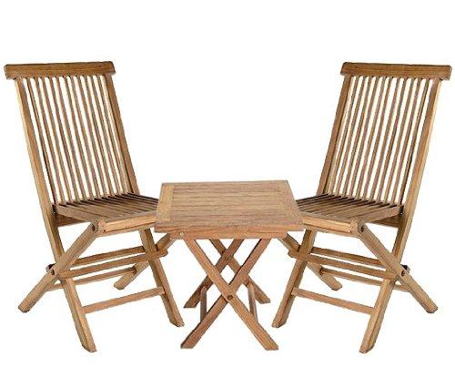 3 tlg. Set aus 2 Klappstühlen und Klapptisch Teak Naturholz Garten Balkon Set