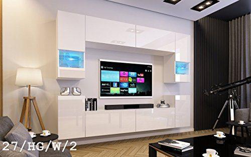 FUTURE 27 Moderne Wohnwand, Exklusive Mediamöbel, TV-Schrank, Schrankwand, TV-Element Anbauwand, Neue Garnitur, Große Farbauswahl (RGB LED-Beleuchtung Verfügbar) (27_HG_W_2, Weiß LED)