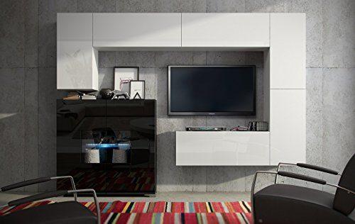 Wohnwand FUTURE 8 Anbauwand Moderne Wohnwand, Hochglanz Schwarz/ Hochglanz Weiß Exklusive Mediamöbel, TV-Schrank, Neue Garnitur, Beleuchtung LED RGB (Hochglanz Weiß, RGB)