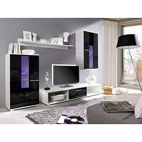 JUSTyou Rico LED Wohnwand Anbauwand Schrankwand Weiß | Schwarz Hochglanz