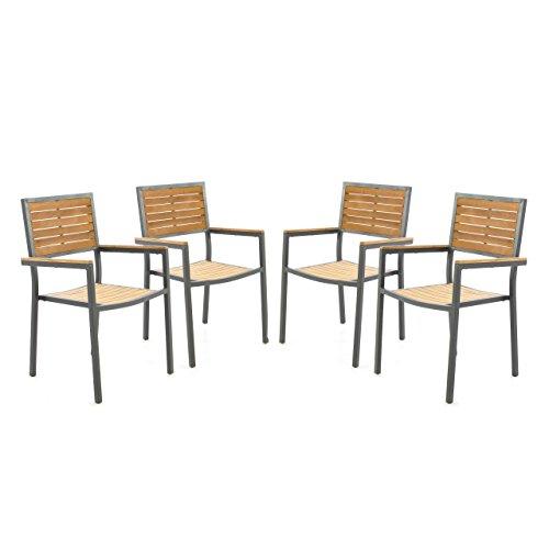 4er Set Gartenstuhl Stapelstuhl Holzstuhl Terrassenstuhl mit Armlehnen – Teak-Holz Aluminium – 87x55x50 cm – pflegeleicht robust stapelbar – Farbe: Alu – grau / Holz - braun