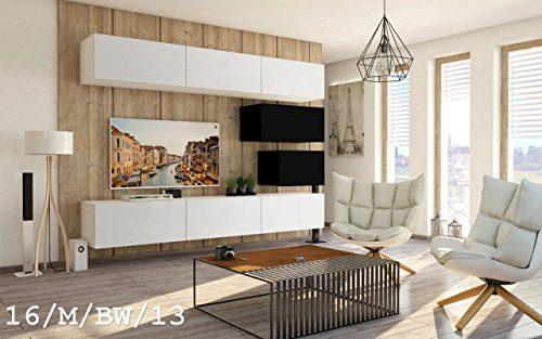 Wohnwand FUTURE 16 Anbauwand Schrankwand Moderne Wohnwand Exklusive Mediamöbel Möbelset Wohnzimmer Matt (16/M/BW/13, Möbel)