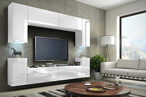 FUTURE 1 Wohnwand Anbauwand Schrankwand Möbel Wand TV-Ständer Wohnzimmer Hochglanz Schwarz / Weiß Beleuchtung LED RGB (Front: Hochglanz Weiß / Korpus: Matt Weiß, Möbel)