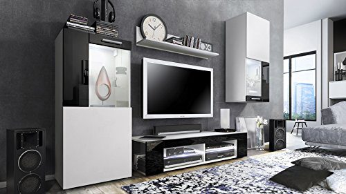 Wohnwand Anbauwand Movie, Korpus in Weiß matt / Fronten in Weiß matt und Schwarz Hochglanz mit weißer LED Beleuchtung