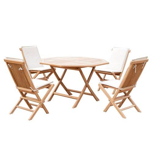 5er-Set Gartenmöbel aus Teak-Holz, Tisch Ø 120cm, 4x Klappstuhl mit Kissenauflage, Sitzgruppe, zusammenklappbar, B-Ware Neu, Ausstellungsstück, unbenutzt, kleine Menge,Retourware
