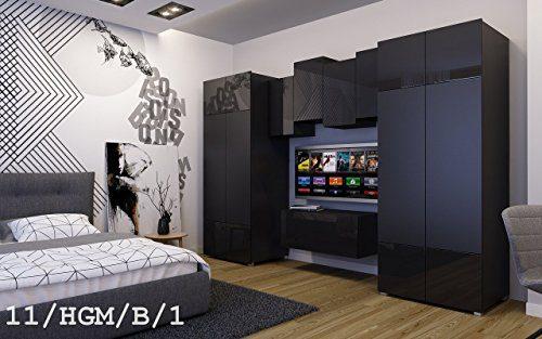 FUTURE 11 Wohnwand Anbauwand Wand Schrank TV-Schrank Möbel Zimmer Hochglanz Matt Schwarz Weiß Sonoma LED RGB Beleuchtung (11/HGM/B/1, Möbel)