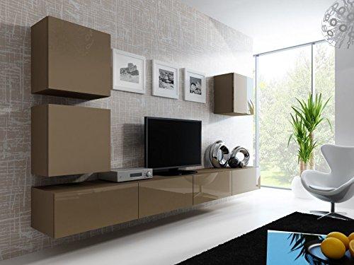 Wohnwand ' Vigo 22' Hochglanz Hängeschrank Lowboard Cube , Farbe:latte matt / latte Hochglanz