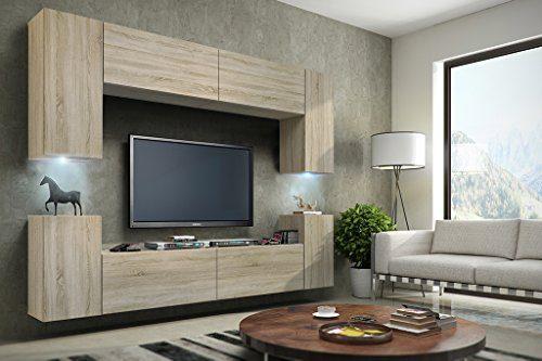 FUTURE 1 Wohnwand Anbauwand Schrankwand Wohnzimmerschrank Möbel Wand TV-Ständer Wohnzimmer Matt Sonoma LED RGB Beleuchtung (Front: Sonoma / Korpus: Sonoma, Möbel)