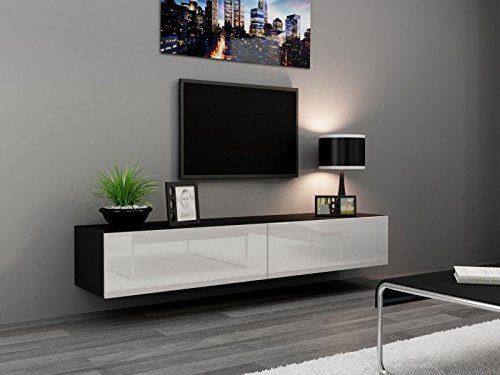 TV Board Lowboard Migo Hängeschrank Wohnwand 180cm (Schwarz Matt /Weiß Hochglanz)