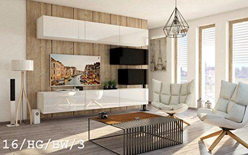 FUTURE 16 Wohnwand Anbauwand Wand Schrank Möbel TV-Schrank Wohnzimmer Wohnzimmerschrank Hochglanz Weiß Schwarz LED RGB Beleuchtung (16/HG/BW/3, Möbel)