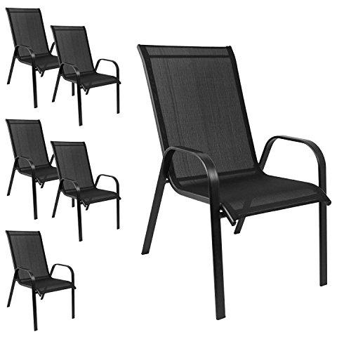 6er Set Gartenstuhl stapelbar Gartensessel Stapelstuhl Stapelsessel Stahlgestell pulverbeschichtet mit Textilenbespannung Schwarz