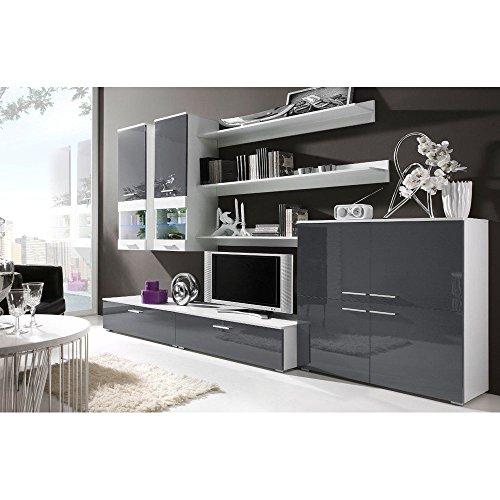 JUSTyou CAMI II Wohnwand Anbauwand Schrankwand Farbe: Weiß Matt / Grau Hochglanz