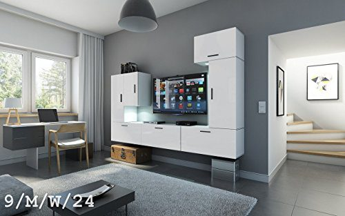 FUTURE 9 Wohnwand Anbauwand Wand Schrank Wohnzimmerschrank Wohnzimmer Matt Weiß Sonoma LED RGB Beleuchtung (9/M/W/24, Möbel)