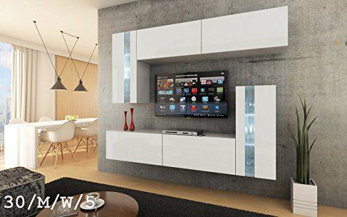 FUTURE 30 Wohnwand Anbauwand Möbel Wand Schrank TV-Schrank Wohnzimmer Wohnzimmerschrank Matt Weiß Schwarz LED RGB Beleuchtung (30/M/W/5, LED weiß)