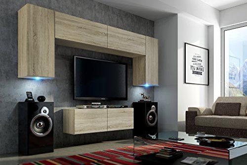 FUTURE 2 Wohnwand Wohnzimmer Möbelset Anbauwand Schrankwand Möbel Set LED RGB Beleuchtung Matt Sonoma (Front: Sonoma / Korpus: Sonoma, Möbel)