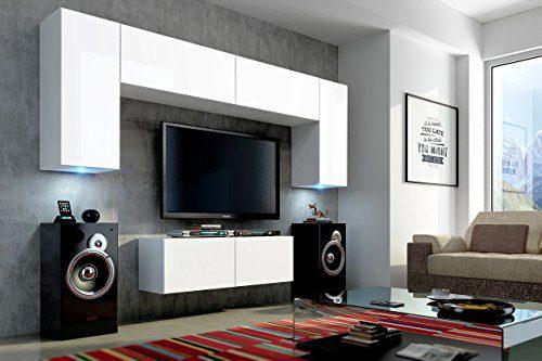 FUTURE 2 Wohnwand Wohnzimmer Möbelset Anbauwand Schrankwand Möbel Set LED RGB Beleuchtung Matt Schwarz Weiß (Front: Matt Weiß / Korpus: Matt Weiß, LED blau)