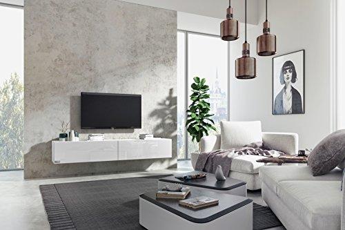 Wuun® TV Board hängend Lowboard Hängeschrank Wohnwand Hochglanz & Naturtöne / Matt Weiß - Weiß-Hochglanz / Verschiedene Farben, wahlweise 100-240cm/ 2-4 Werktage Lieferzeit/ Somero 160cm