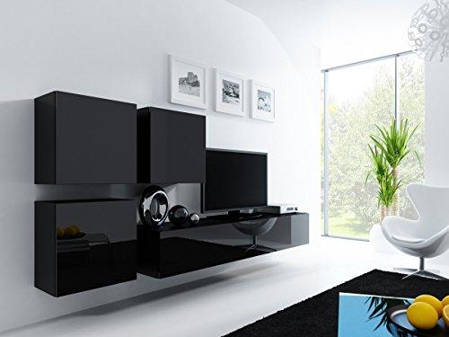Wohnwand Anbauwand VIGO in MDF Hochglanz, Pusch Click, Farbauswahl (schwarz/ schwarz hochglanz)