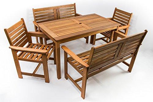 AVANTI TRENDSTORE - Furni - Gartenset 5-teilig aus Hartholz Teak, 1 Tisch (Maße: BHT 135x73,5x75 cm), 2 Stühle (Maße: BHT 61x88x62 cm), 2 Bänke (Maße: BHT 120x88x62 cm)