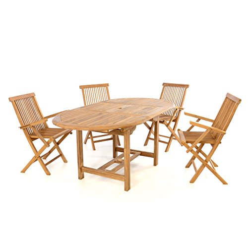 divero 5 tlg garten m bel set sitzgruppe teak holz klappstuhl tisch 120 170 m bel24. Black Bedroom Furniture Sets. Home Design Ideas