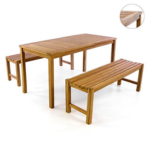 DIVERO Gartenmöbel Set Picknickset Teakholz Bank Tisch Sitzgruppe Gartenset 3 teilig 1 Tisch 2 Bänke aus Teak