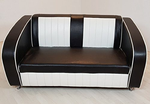 Dreams4Home Sofabank 'Belvue' - Essbank, Sitzbank, Polsterbank, Küchenbank, Bank, Sitzmaße: H/T/B: 40 x 54 x 120 cm, Gesamthöhe: 72 cm ,modern, im Diner Stil, in rot / weiß, schwarz / weiß, blau / weiß, Küche, Esszimmer, Farbe:Schwarz/Weiß