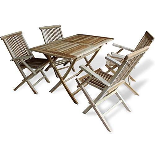 Festnight 5-tlg. Gartenmöbel-Set aus Teakholz Garten Essgruppe Gartengarnitur inkl. 1 Klapptisch und 4 Klappstuhl
