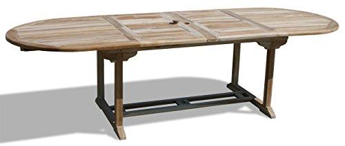 KMH®, 2-fach ausziehbarer Teak Gartentisch (Ausziehbar: 180 - 230 - 280 cm x 100 cm) (#102091)