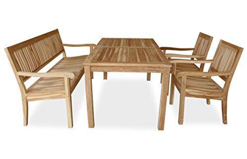 """KMH®, 4-teilige Teak Sitzgruppe """"LEA"""" mit 180 cm langem Tisch für 6 Personen (#102214)"""