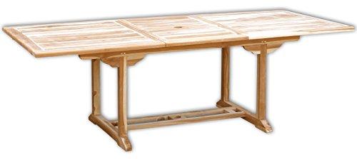 KMH®, Ausziehbarer Teak Gartentisch (Maße: 170 - 230 x 100 cm / rechteckig) (#102110)