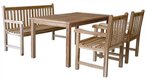"""KMH®, Teak Gartensitzgruppe """"Classic"""" mit 150 cm langem Tisch, Bank und zwei Sessel bietet Platz für 5 Personen (#102203)"""