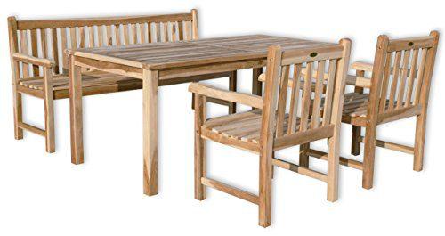 """KMH®, Teak Gartensitzgruppe """"Classic"""" mit 180 cm langem Tisch für 6 Personen (#102204)"""