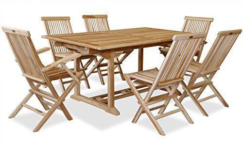 KMH®, Teak Gartensitzgruppe mit ausziehbarem Gartentisch für 6 Personen (#102207)