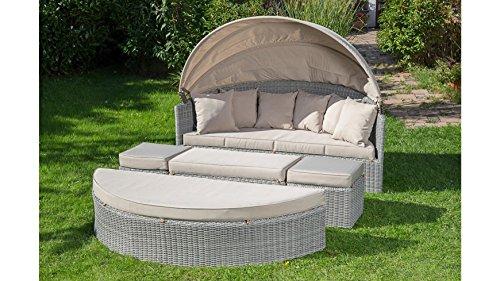 MERXX Loungebett, Polyrattan, grau, inkl. Auflagen