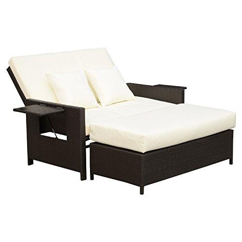 outsunny polyrattan lounge sofa gartensofa gartenliege 2 sitzer mit kissen hocker braun m bel24. Black Bedroom Furniture Sets. Home Design Ideas