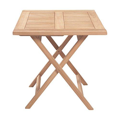 Riva Teak Bistrotisch Gartentisch braun Echtholz 70x70x75 klappbar Balkontisch Tisch