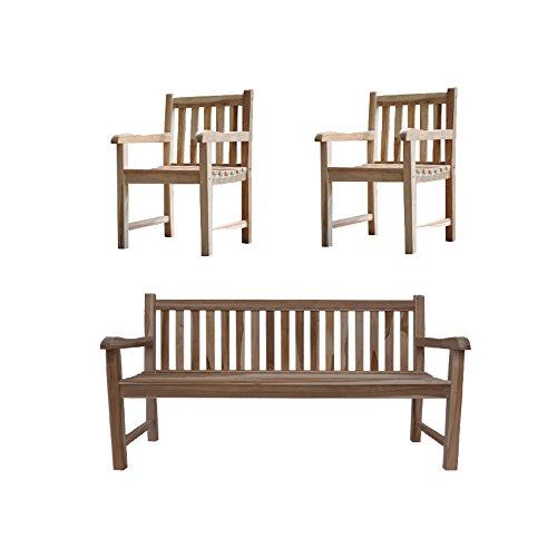 SAM® Sparset: 1 x Gartenbank & 2 x Gartenstuhl aus Teak-Holz, Sitzbank 150 cm, pflegeleichte Unikate, ideal für Garten, Terrasse & Balkon [53257761]