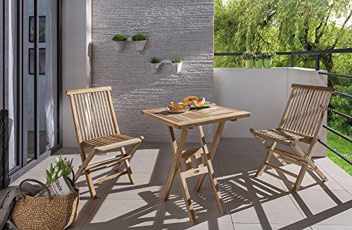 SAM® Teak-Holz Balkongruppe, Gartengruppe, Gartenmöbel 3tlg., bestehend aus 1 x Tisch + 2 x Klappstuhl, zusammenklappbar, leicht zu verstauen [53262642]