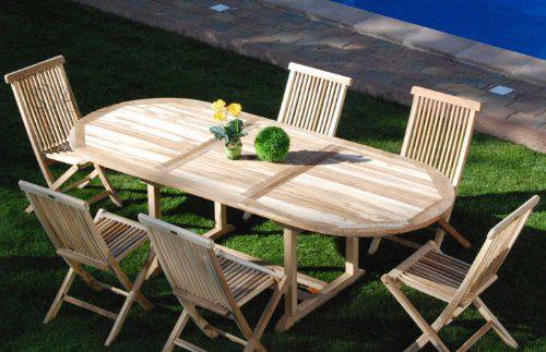 SAM® Teak Holz Gartengruppe Gartenmöbel Menorca 7 teilig, bestehend aus 6 x Klappstühle + 1 x Auszugstisch, zusammenklappbare Stühle, leicht zu verstauen