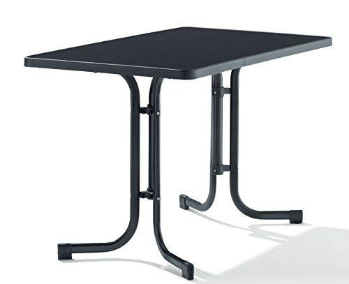 Sieger 233/G Boulevard-Klapptisch mit mecalit-Pro-Platte 115 x 70 cm, Stahlrohrgestell eisengrau, Tischplatte Schieferdekor anthrazit