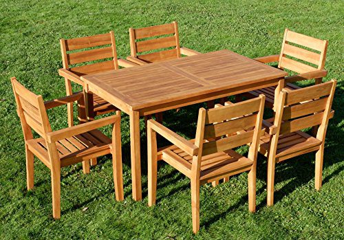 TEAK SET: Gartengarnitur Alpen Tisch 140x80 + 6 Kingston Sessel Serie JAV von AS-S