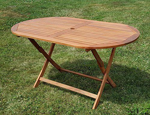 klappbarer Gartentisch Holztisch Tisch oval 150x85cm BARBADOS aus Eukalyptus wie Teak von AS-S