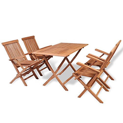 vidaXL 5-tlg. Teak Essgruppe Sitzgruppe Gartenmöbel Set Sitzgarnitur klappbar