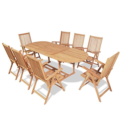 vidaXL Teak 9-tlg. Garten-Essgruppe Gartenmöbel-Set Sitzgruppe Sitzgarnitur