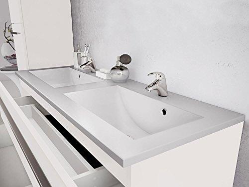 waschtischunterschrank 120 cm breit wei hochglanz doppel. Black Bedroom Furniture Sets. Home Design Ideas