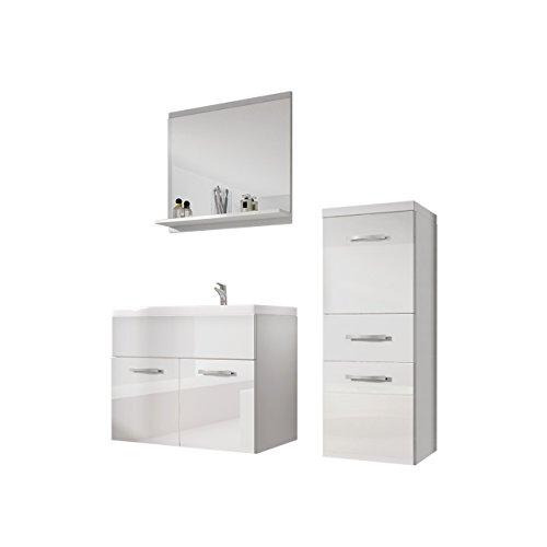 OUTLET !! Badmöbel Set Bella Mini, Modernes Badezimmer, Spiegel, Hängeschrank, Möbel Komplett (Weiß / Weiß Hochglanz)