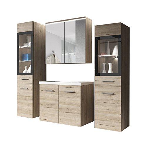 Badmöbel Set Udine II mit Waschbecken und Siphon, Modernes Badezimmer, Komplett, Spiegelschrank, Waschtisch, Hochschrank, Möbel (ohne Beleuchtung, San Remo)